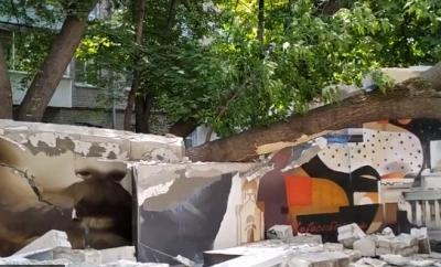 Появилось видео разрушений в Императорском сквере Новосибирска
