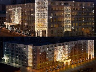 Три миллиона рублей потратили на новогоднее оформление здания правительства НСО