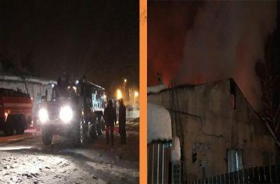В Маслянинском районе загорелся гараж с КамАЗом
