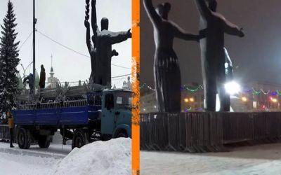У Новосибирского оперного театра стоят ограждения с митинга 23 января