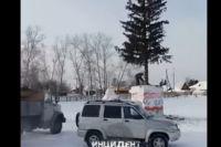 Городская елка упала на автомобиль в Новосибирской области