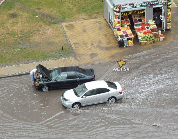 Проезжая часть Плющихинского жилмассива утонула в дождевой воде (фото)